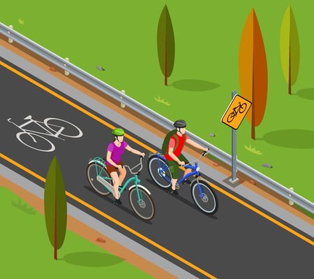 Cycling tourism isometric composition couple during bicycle ride on bike lane vector illustration