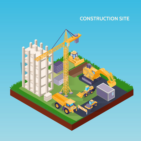 Illustration for Construction site isometric concept with house foundation crane excavator bulldozer and materials on blue background 3d vector illustration - Royalty Free Image