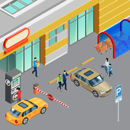 Ilustración de Colorful isometric composition with vending machine on parking zone near shopping center 3d vector illustration - Imagen libre de derechos