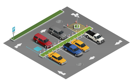 Illustration pour Transportation realistic isometric composition with van automobile saloon vehicle sedan car in outdoor parking lot vector illustration - image libre de droit