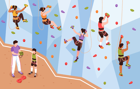 Illustration pour Isometric climbing wall composition with view of coach and mountain climbers climbing up artificial rock wall vector illustration - image libre de droit