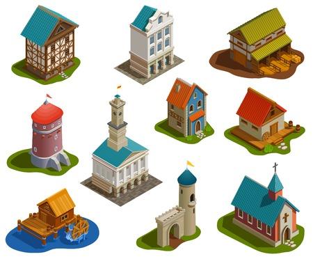 Ilustración de Medieval sttlement architecture isometric buildings set with castle church tower bridge water mill farm isolated vector illustration - Imagen libre de derechos