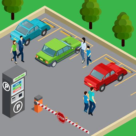 Ilustración de Vending machine on parking zone and people near their cars 3d isometric vector illustration - Imagen libre de derechos