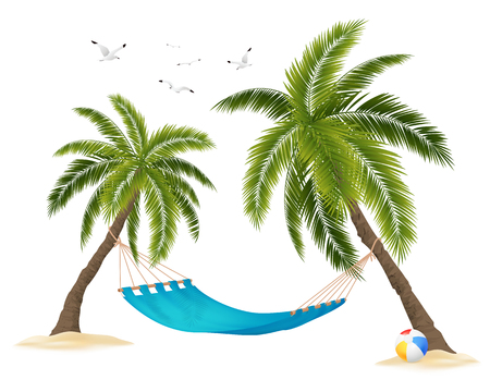 Illustration pour Realistic empty hammock between palm trees and flock of birds in sky on white background vector illustration - image libre de droit