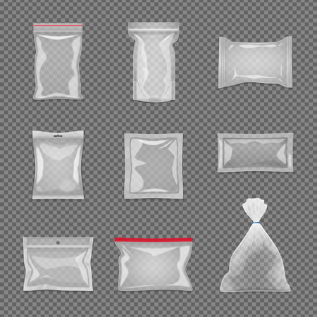 Illustrazione per Realistic transparent package set in different shape isolated vector illustration - Immagini Royalty Free