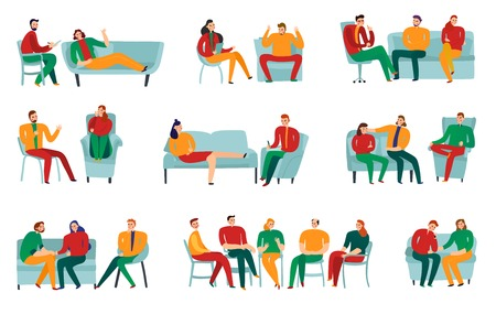 Illustration for People talking to psychotherapist or psychologist flat icons set isolated on white background vector illustration - Royalty Free Image