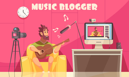 Ilustración de Music blogger composition with indoor domestic scenery and male human character recording himself playing guitar vector illustration - Imagen libre de derechos