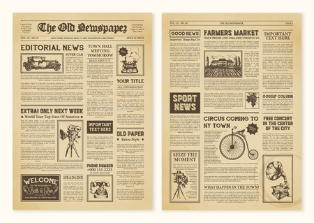 Ilustración de Yellowed realistic newspaper pages in vintage design with headers of different font vector illustration - Imagen libre de derechos