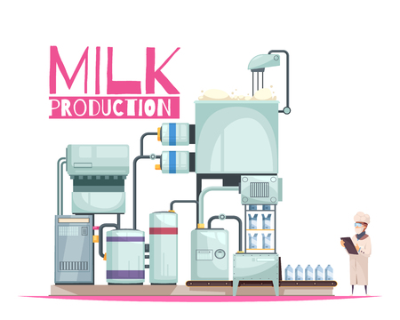 Illustration pour Milk production composition with ornate text and flat image of milk factory facilities with human character vector illustration - image libre de droit