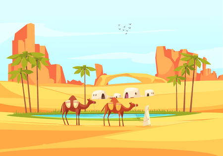 Illustration pour Desert outdoor composition of deserted place landscape with flat images of sandy canyons and train of camels vector illustration - image libre de droit