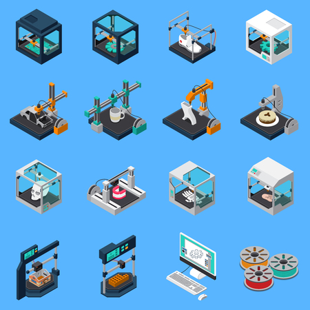 Illustrazione per 3D printing industry isometric icons collection with isolated icons of industrial stitching facilities and sewings machines vector illustration - Immagini Royalty Free