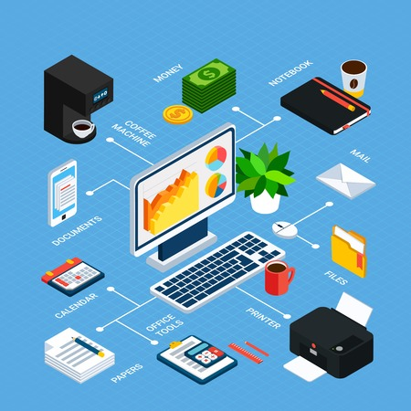 Illustration pour Business people isometric flowchart with linked images of workplace items office equipment with editable text captions vector illustration - image libre de droit