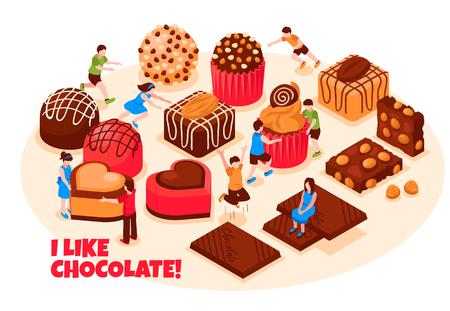 Ilustración de I like chocolate design concept with wide range of chocolate sweets pastry and bars isometric vector illustration - Imagen libre de derechos