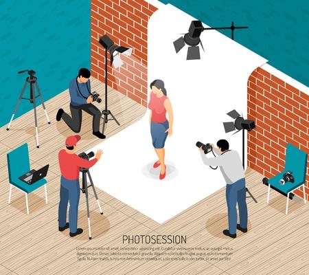 Illustration pour Professional photo art studio interior equipment photographers work isometric composition with fashion model shooting session vector illustration - image libre de droit