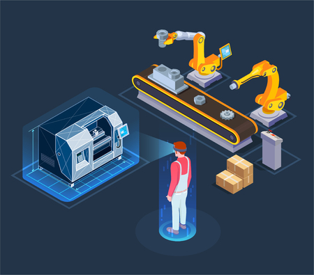 Illustration pour Industrial augmented reality applications with automated robotic production line virtual assistant isometric composition black background vector illustration - image libre de droit