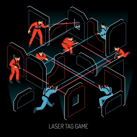 Illustration pour Laser tag real action kids team game isometric composition with players firing infrared sensitive targets vector illustration - image libre de droit