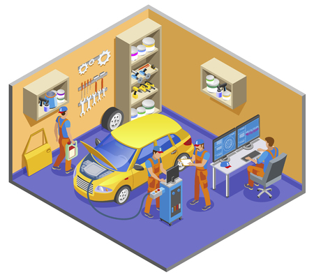 Ilustración de Auto service isometric composition with diagnostics and repair symbols vector illustration - Imagen libre de derechos