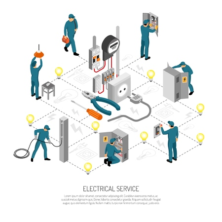 Ilustración de Isometric electrician composition with editable text lines icons and isolated images of linesmen doing various works vector illustration - Imagen libre de derechos