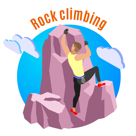 Rock climbing composition with sports and recreation symbols isometric vector illustration