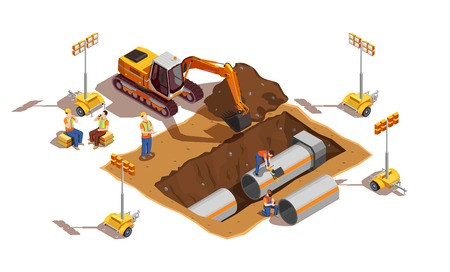 Illustration pour Builders with construction vehicle and lighting equipment during laying of pipes isometric composition vector illustration - image libre de droit