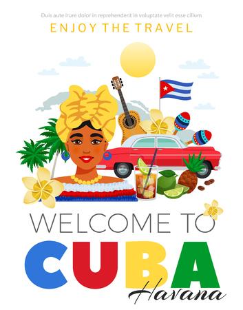 Illustration pour Cubaand Havana travel poster with people and cuisine symbols flat vector illustration - image libre de droit