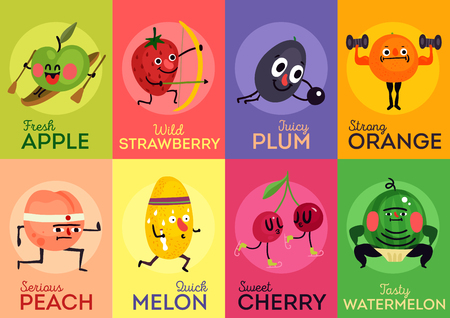 Set of cards cartoon funny fruits during sport activity isolated on colorful background vector illustration