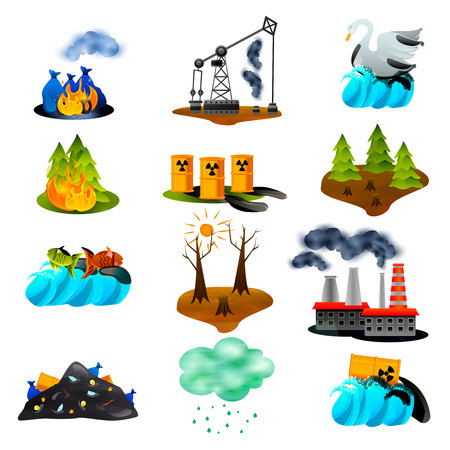 Ilustración de Ecological problems set of flat icons with air and ocean pollution toxic waste deforestation isolated vector illustration - Imagen libre de derechos