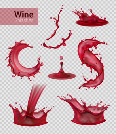 Ilustración de Wine splash realistic set of isolated sprays of liquid red wine with drops on transparent background vector illustration - Imagen libre de derechos