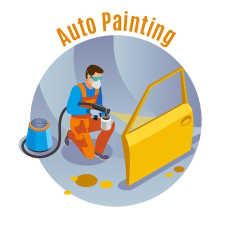 Ilustración de Auto service background with auto painting service symbols isometric vector illustration - Imagen libre de derechos