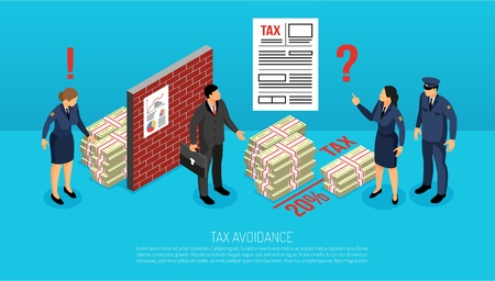 Illustration pour Tax evasion horizontal isometric composition with inspectors finding illegally intentionally avoided contributions by business manager vector illustration - image libre de droit