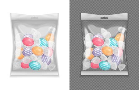 Ilustración de Realistic transparent lollypop candy package set isolated vector illustration - Imagen libre de derechos