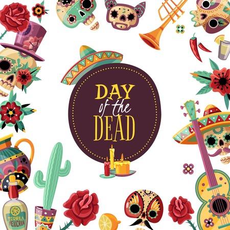 Ilustración de Dead day square frame poster with event symbols decorative border guitar scull in sombrero cactus vector illustration - Imagen libre de derechos