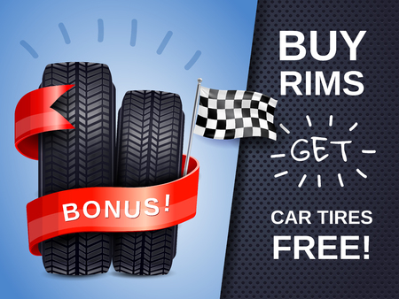 Illustration pour Realistic car tires as present to buying rims ad poster with racing flag vector illustration - image libre de droit