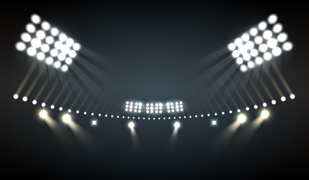 Illustration pour Stadium lights realistic background with sports and technology symbols vector illustration - image libre de droit