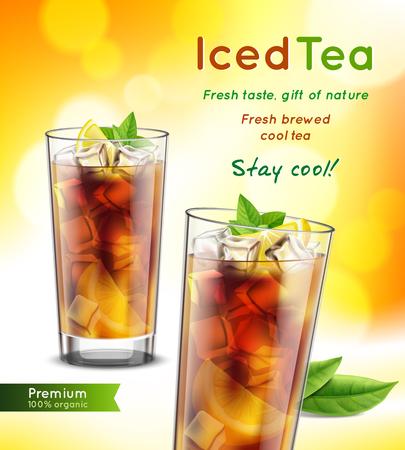 Ilustración de Iced tea package realistic advertising composition with 2 full glasses mint leaves lemon promoting text  illustration - Imagen libre de derechos