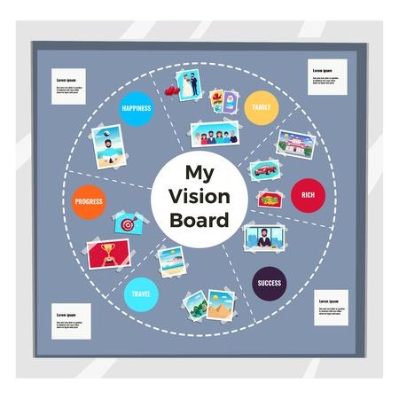 Ilustración de Dreams vision board infographic set with travel and family symbols flat vector illustration - Imagen libre de derechos