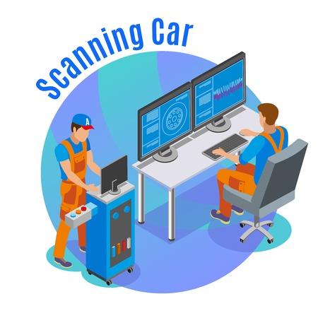 Ilustración de Auto scanning background with car service symbols isometric vector illustration - Imagen libre de derechos