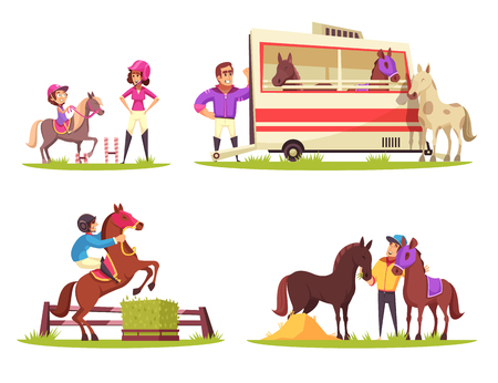 Ilustración de Equestrian sport design concept with set of four outdoor compositions with cartoon characters of animals and people vector illustration - Imagen libre de derechos