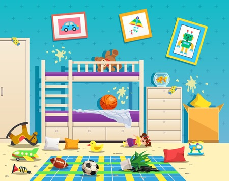 Ilustración de Messy children room interior with dirty stains on wall and scattered toys on floor flat vector illustration - Imagen libre de derechos