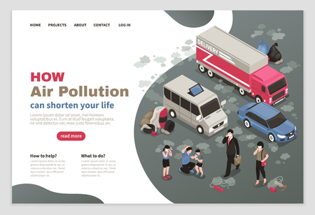 Ilustración de Air pollution page design with city transport symbols isometric vector illustration - Imagen libre de derechos