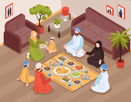 Illustration pour Arab family meal with traditional food and drinks isometric vector llustration - image libre de droit