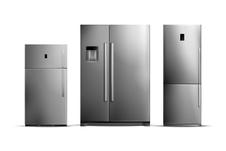 Illustrazione per Set of realistic silver fridges of various size isolated on white background vector illustration - Immagini Royalty Free