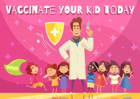 Ilustración de Kids vaccination benefits promotion poster with child health protection shield symbol doctor with syringe   cartoon vector illustration - Imagen libre de derechos
