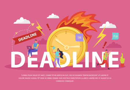 Illustration pour Deadline flat composition with human characters burning clock lightnings and exclamation marks on pink background vector illustration - image libre de droit
