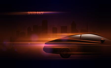 Illustration pour High speed race hatchback car trailing lights motion effect realistic composition in night city street vector illustration - image libre de droit