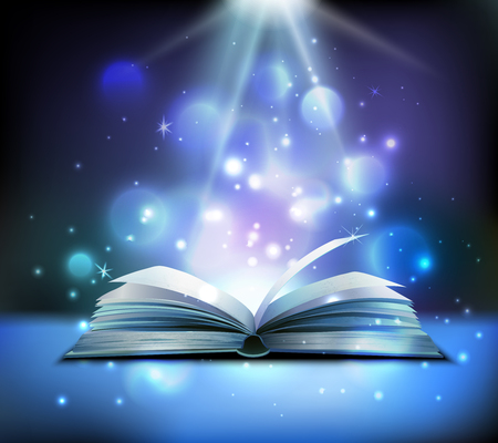 Ilustración de Opened magic book realistic image with bright sparkling light rays illuminating pages floating balls dark background vector illustration - Imagen libre de derechos