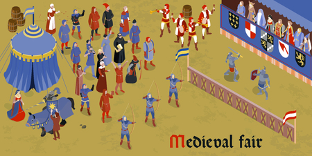 Ilustración de Isometric medieval horizontal composition with medieval fair headline and group of people on square vector illustration - Imagen libre de derechos