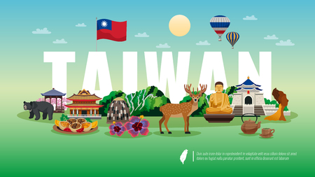 Illustration pour Taiwan travel flat horizontal composition   with national food animals nature temple sightseeing landmarks attractions vector illustration - image libre de droit