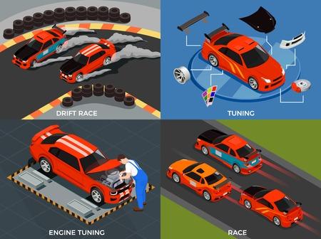 Ilustración de Car tuning 2x2 design concept set of engine and body modifications for drift race isometric vector illustration - Imagen libre de derechos