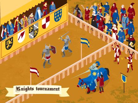 Ilustración de Colored and isometric medieval composition with knights tournament headline on white ribbon vector illustration - Imagen libre de derechos